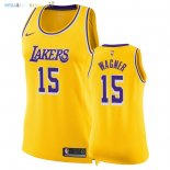 Maillot NBA Femme Los Angeles Lakers NO.15 Moritz Wagner Jaune Icon 2018-19 Pas Cher