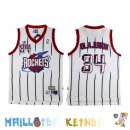 Maillot NBA Houston Rockets NO.34 Hakeem Abdul Olajuwon Retro Blanc Pas Cher