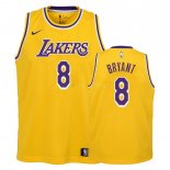 Maillot Enfant Los Angeles Lakers NO.8 Kobe Bryant Jaune Icon 2018-19 Pas Cher
