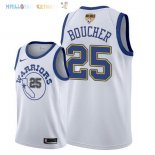 Maillot NBA Golden State Warriors 2018 Finales Champions NO.25 Chris Boucher Retro Blanc Pas Cher
