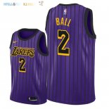 Maillot NBA Los Angeles Lakers NO.2 Lonzo Ball Nike Pourpre Ville 2018-2019 Pas Cher