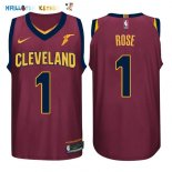 Maillot NBA Cleveland Cavaliers NO.1 Derrick Rose Rouge 2017-2018 Pas Cher