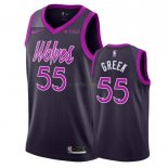 Maillot Minnesota Timberwolves Nike NO.55 Mitch Creek Pourpre Ville 2018-19 Pas Cher
