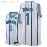 Maillot NBA Charlotte Hornets NO.1 Tyrone Bogues Retro Blanc 30 Anniversaire 2018-2019 Pas Cher