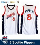 Maillot NBA 1996 USA Scottie Pippen NO.8 Blanc Pas Cher
