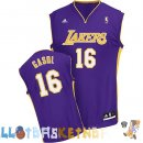Maillot NBA L.A.Lakers NO.16 Pau Gasol Purpura Pas Cher