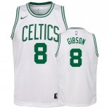Maillot Enfant Boston Celtics NO.8 Jonathan Gibson Blanc Association 2018-19 Pas Cher
