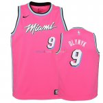 Maillot NBA Enfant Earned Edition Miami Heat NO.9 Kelly Olynyk Rose 2018-19Pas Cher