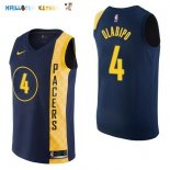 Maillot NBA Indiana Pacers NO.4 Victor Oladipo Nike Marine Ville 2017-2018 Pas Cher