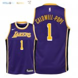 Maillot NBA Enfant Los Angeles Lakers NO.1 Kentavious Caldwell Pope Pourpre Statement 2018-19 Pas Cher