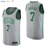 Maillot NBA Boston Celtics NO.7 Jaylen Brown Nike Gris Ville 2017-2018 Pas Cher