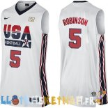 Maillot NBA 1992 USA David Robinson NO.5 Blanc Pas Cher