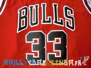 Maillot NBA Chicago Bulls NO.33 Scottie Pippen Rouge Pas Cher