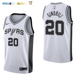 Maillot NBA San Antonio Spurs NO.20 Manu Ginóbili Blanc Association 2017-2018 Pas Cher