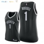 Maillot NBA Femme Brooklyn Nets NO.1 D'Angelo Russell Noir Icon 2018 Pas Cher