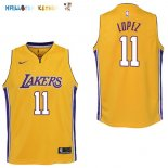 Maillot NBA Enfant Los Angeles Lakers NO.11 Brook Lopez Jaune Icon Pas Cher