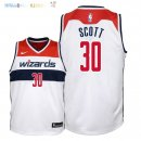 Maillot NBA Enfant Washington Wizards NO.30 Mike Scott Blanc Association 2018 Pas Cher