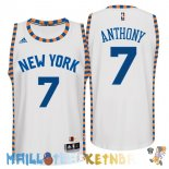 Maillot NBA New York Knicks NO.7 Carmelo Anthony Blanc Dentelle Pas Cher