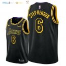 Maillot NBA Los Angeles Lakers NO.6 Lance Stephenson Noir Ville 2018 Pas Cher