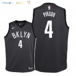 Maillot NBA Enfant Brooklyn Nets NO.4 Theo Pinson Noir Statement 2018 Pas Cher