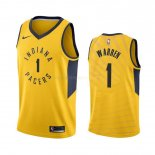 Maillot NBA Indiana Pacers Nike NO.1 T.J. Warren Gray Jaune Statement 2019-20 Pas Cher