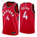 Maillot NBA Toronto Raptors NO.4 Lorenzo Brown Rouge Icon 2018 Pas Cher