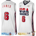 Maillot NBA 1992 USA James NO.6 Blanc Pas Cher