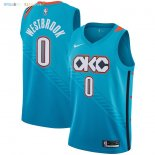 Maillot NBA Enfant Oklahoma City Thunder NO.0 Russell Westbrook Nike Turquoise Ville 2018-19 Pas Cher