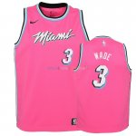 Maillot NBA Enfant Earned Edition Miami Heat NO.3 Dwyane Wade Rose 2018-19 Pas Cher