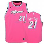 Maillot NBA Enfant Earned Edition Miami Heat NO.21 Hassan Whiteside Rose 2018-19 Pas Cher