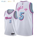 Maillot NBA Miami Heat NO.5 Derrick Jones Jr Nike Blanc Ville 2018 Pas Cher