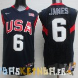Maillot NBA 2008 USA James NO.6 Noir Pas Cher