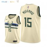 Maillot NBA Milwaukee Bucks NO.15 Shabazz Muhammad Nike Crème Ville 2018-2019 Pas Cher