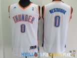 Maillot NBA Enfants Oklahoma City Thunder NO.0 Russell Westbrook Blanc Pas Cher