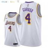 Maillot NBA Los Angeles Lakers NO.4 Alex Caruso Blanc Association 2018-2019 Pas Cher