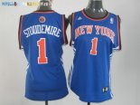 Maillot NBA Femme New York Knicks NO.1 Amar'e Stoudemire Bleu Orange Pas Cher