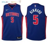 Maillot NBA Enfant Detroit Pistons NO.5 Luke Kennard Bleu Icon 2017-2018 Pas Cher