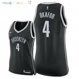 Maillot NBA Femme Brooklyn Nets NO.4 Jahlil Okafor Noir Icon 2018 Pas Cher