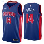 Maillot NBA Detroit Pistons NO.14 Ish Smith Bleu Icon 2018 Pas Cher