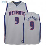 Maillot NBA Enfant Detroit Pistons NO.9 Langston Galloway Gris Statement 2017-2018 Pas Cher