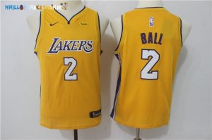 Maillot NBA Enfant Los Angeles Lakers NO.2 Lonzo Ball Jaune Icon Pas Cher