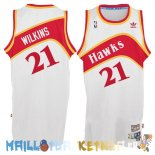 Maillot NBA Atlanta Hawks NO.21 Dominique Wilkins Blanc Pas Cher
