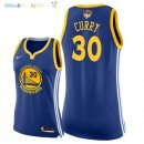 Maillot NBA Femme Golden State Warriors NO.30 Stephen Curry Bleu Icon Patch Finales Champions 2018 Pas Cher