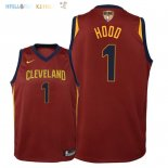 Maillot NBA Enfant Cleveland Cavaliers Finales Champions 2018 NO.1 Rodney Hood Rouge Icon Patch Pas Cher