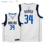 Maillot NBA Enfant Dallas Mavericks NO.34 Devin Harris Blanc Association 2018 Pas Cher