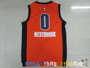 Maillot NBA Oklahoma City Thunder NO.0 Russell Westbrook Orange Pas Cher