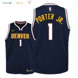 Maillot NBA Enfant Denver Nuggets NO.1 Michael Porter Jr Marine Icon 2018-19 Pas Cher