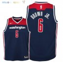 Maillot NBA Enfant Washington Wizards NO.6 Troy Brown Jr Marine Statement 2018 Pas Cher