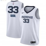 Maillot NBA Memphis Grizzlies NO.33 Marc Gasol Blanc Association 2018-2019 Pas Cher