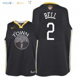 Maillot NBA Enfant Golden State Warriors Finales Champions 2018 NO.2 Jordan Bell Noir Statement Patch Pas Cher